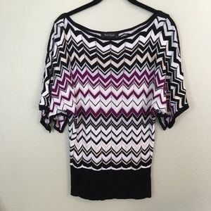 WHBM Chevron Shimmer Knit Top, Size XS